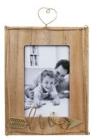 WOOD AND METAL HEART HANGING PHOTO FRAME